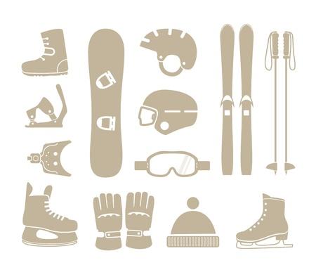 冬のスポーツ機器シルエット コレクション  イラスト・ベクター素材