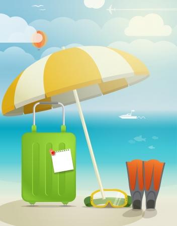 flippers: Summer ilustración vacaciones junto al mar Vectores