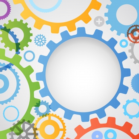 dag: Color different gear wheels abstract background Illustration