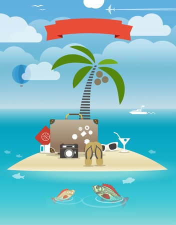 Summer seaside vacation illustration Stock Vector - 21076257