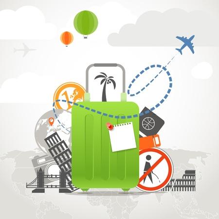休暇旅行緑のバッグを持つ組成コンセプト  イラスト・ベクター素材