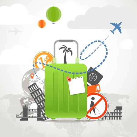 Vacation travelling composition concept with the green bag Stock Vector - 21599848