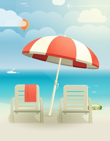 Beach landcape with chairs and umbrella Stock Vector - 21599850
