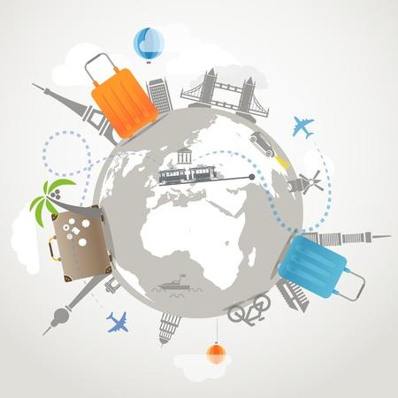 bagagli: Illustrazione di viaggio Trasporti e famosi