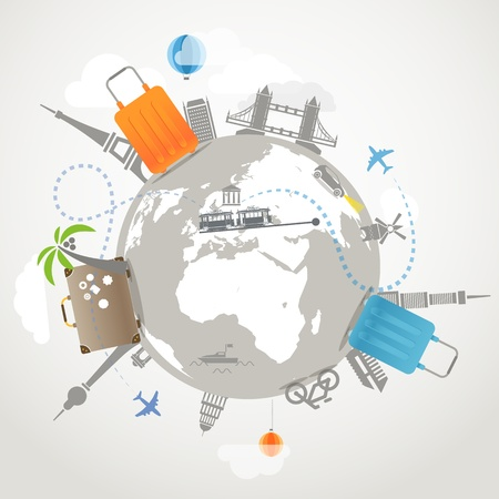 travel luggage: Travel illustration  Transportation and famous sights