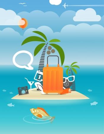 Summer seaside vacation illustration Stock Vector - 21599866