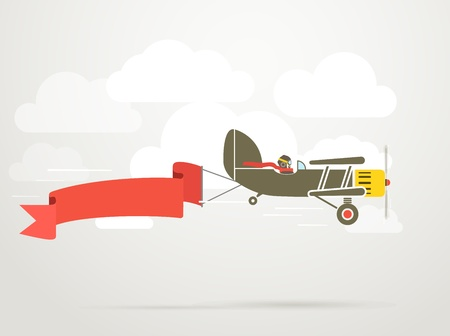 Flying vintage plane with the banner  Template for a text
