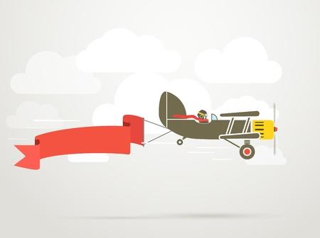 piloto de avion: Vuelo plano de la vendimia con la plantilla bandera para un texto