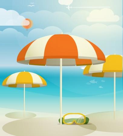 beach bag: Summer seaside vacation illustration