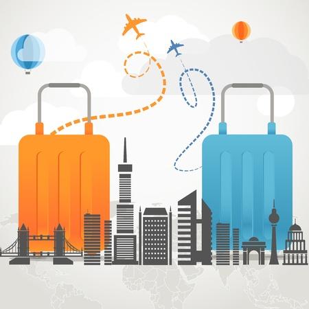 休暇旅行組成コンセプト 2 つの袋と近代的な都市のシルエット