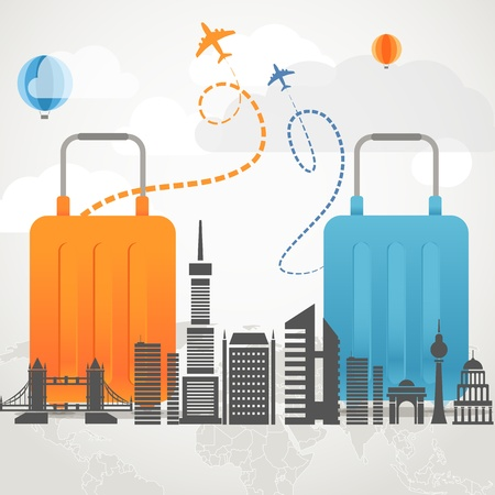 Vacation travelling composition concept with two bags and silhouette of a modern city Stock Vector - 21599891