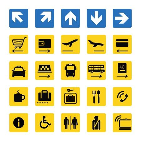 overdracht: Luchthaven informatie borden geïsoleerd op wit Stock Illustratie
