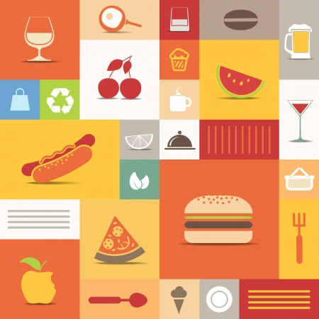 hot dog: Color tiles with food icons collection Illustration