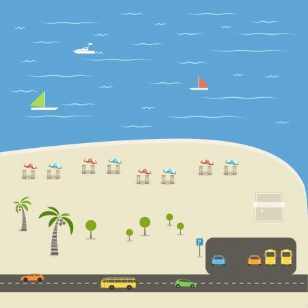 balon de voley: Temporada de verano Playa ilustración vacaciones Vectores
