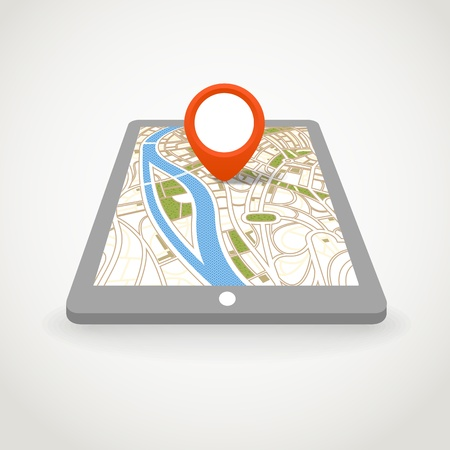 gadget: Modern gadget with abstract city map in perspective Illustration