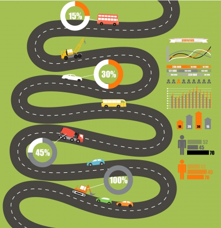 road map: Abstract city map with infographic elements