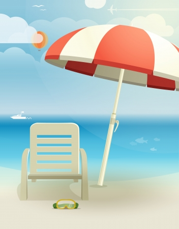 Beach landcape with chair and umbrella Vector