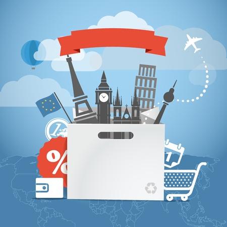 businnes: Shopping time  Seasonal euro discount tour illustration