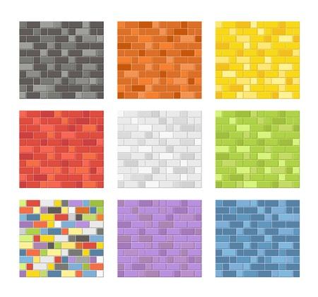 Color seamless patterns of brick walls Stock Vector - 21910934