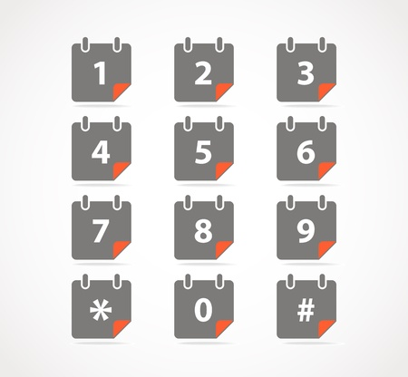 Сalendar icons with digits Vector