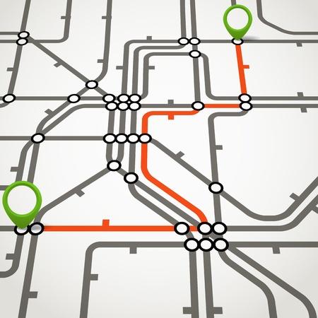 選択したパスを持つ抽象地下鉄スキーム  イラスト・ベクター素材