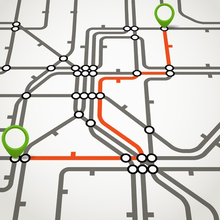 Abstract metro regeling met het geselecteerde pad Stock Illustratie