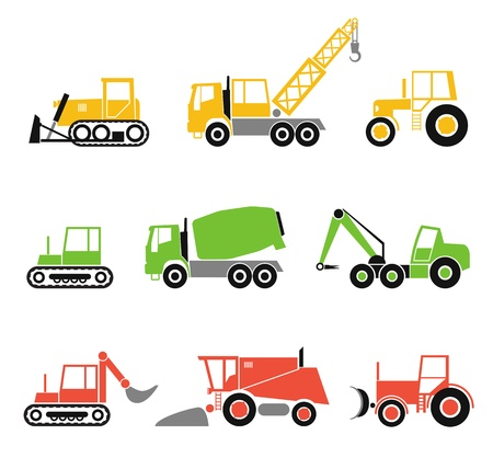 combine harvester: Collection of modern technics silhouettes Illustration