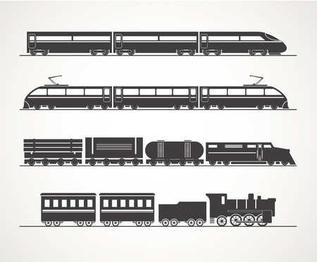 現代とヴィンテージ鉄道シルエット コレクション  イラスト・ベクター素材