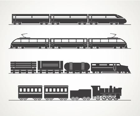 embarque: Colecci�n moderna y de la vendimia silueta tren Vectores