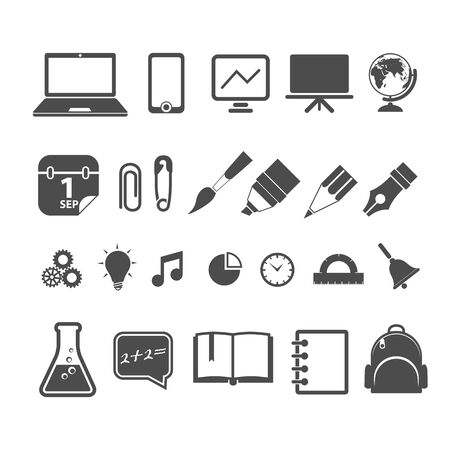 school bag: Education silhouettes collection isolated on white