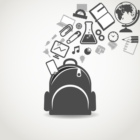 Education icons flowing into open school bag Ilustração
