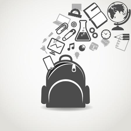 mochila escolar: Iconos de la educación que fluye en el bolso de escuela abierta Vectores