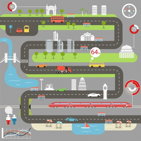 cargo transport: Abstract city map with infographic elements