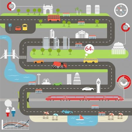 Touring: Streszczenie mapa miasta z elementów infographic