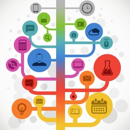 Color abstracto árbol con iconos de los medios de comunicación modernos Ilustración de vector