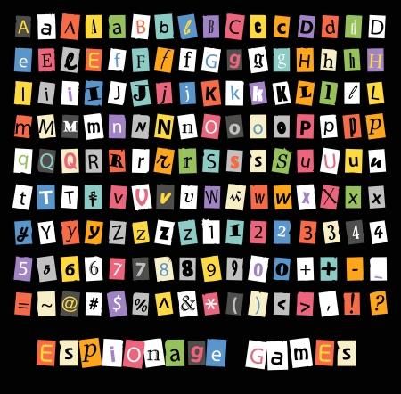 Verschiedene Zeichen und Symbole auf Papierbögen Standard-Bild - 22071979