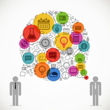zeitplan: Zwei sprechen Geschäftsleute mit abstrakten Rede Cloud von verschiedenen Symbolen