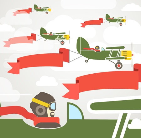 Flying vintage group of planes with banners  Template for a text Vector