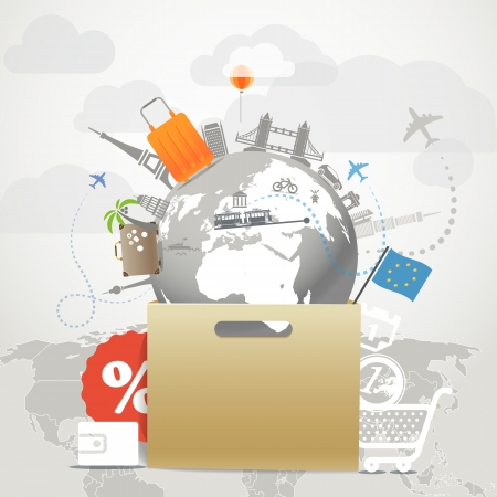 businnes: Shopping time concept  Around the world seasonal discount tour illustration Illustration