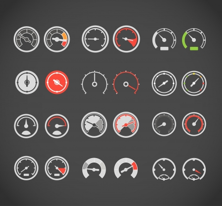 Different slyles of speedometers color vector collection Illustration