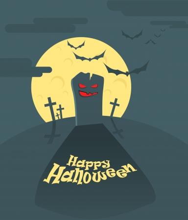 hallooween: Dark cemetery in a full moon  Happy Halloween illustration