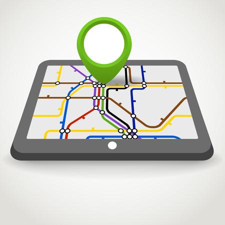 Modern gadget with abstract metro scheme Vector