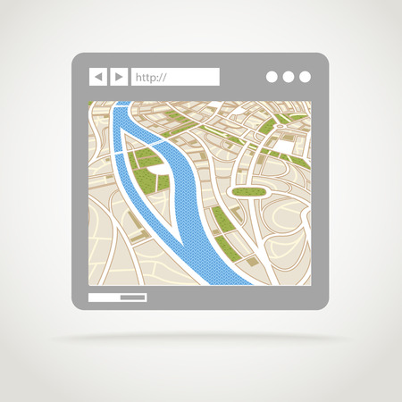 adress: Modern web browser window with abstract city map
