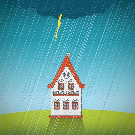 rain window: Vintage lonely house on the rain Illustration