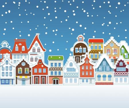 Edificios de la vendimia con nevadas en invierno