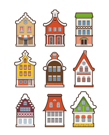 Collection of colorful vintage houses isolated on white Vector