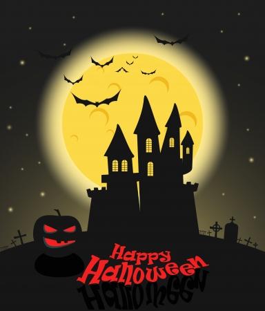 Dark castle in a full moon. Happy Halloween illustration  Vector