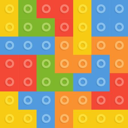 constructor: Color constructor blocks seamless pattern Illustration
