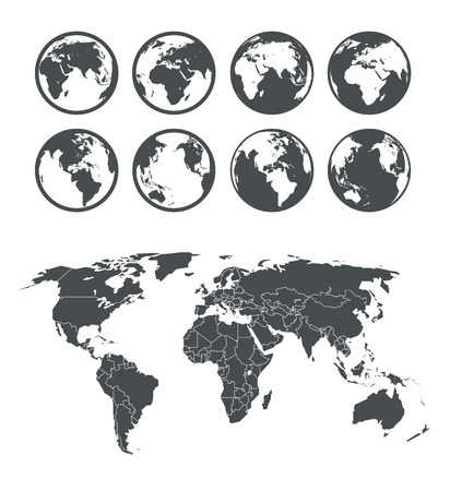 world icon: Globe and Earth map scheme collection. Selectable template