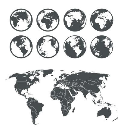 oriente: Globo y el mapa colección esquema terrestre. Plantilla seleccionable Vectores